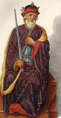 Миниатюра из Испанской королевской библиотеки. Король Альфонсо II (791 г.)