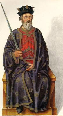 Миниатюра из Испанской королевской библиотеки. Король Пелайо (716 г.)
