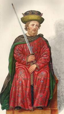 Миниатюра из Испанской королевской библиотеки. Король Санчо I (955 г.).